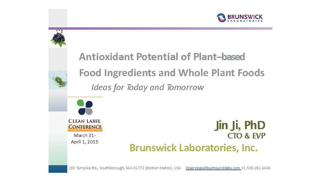 Antioxidant Potential Plant Based Ingredients Presentation