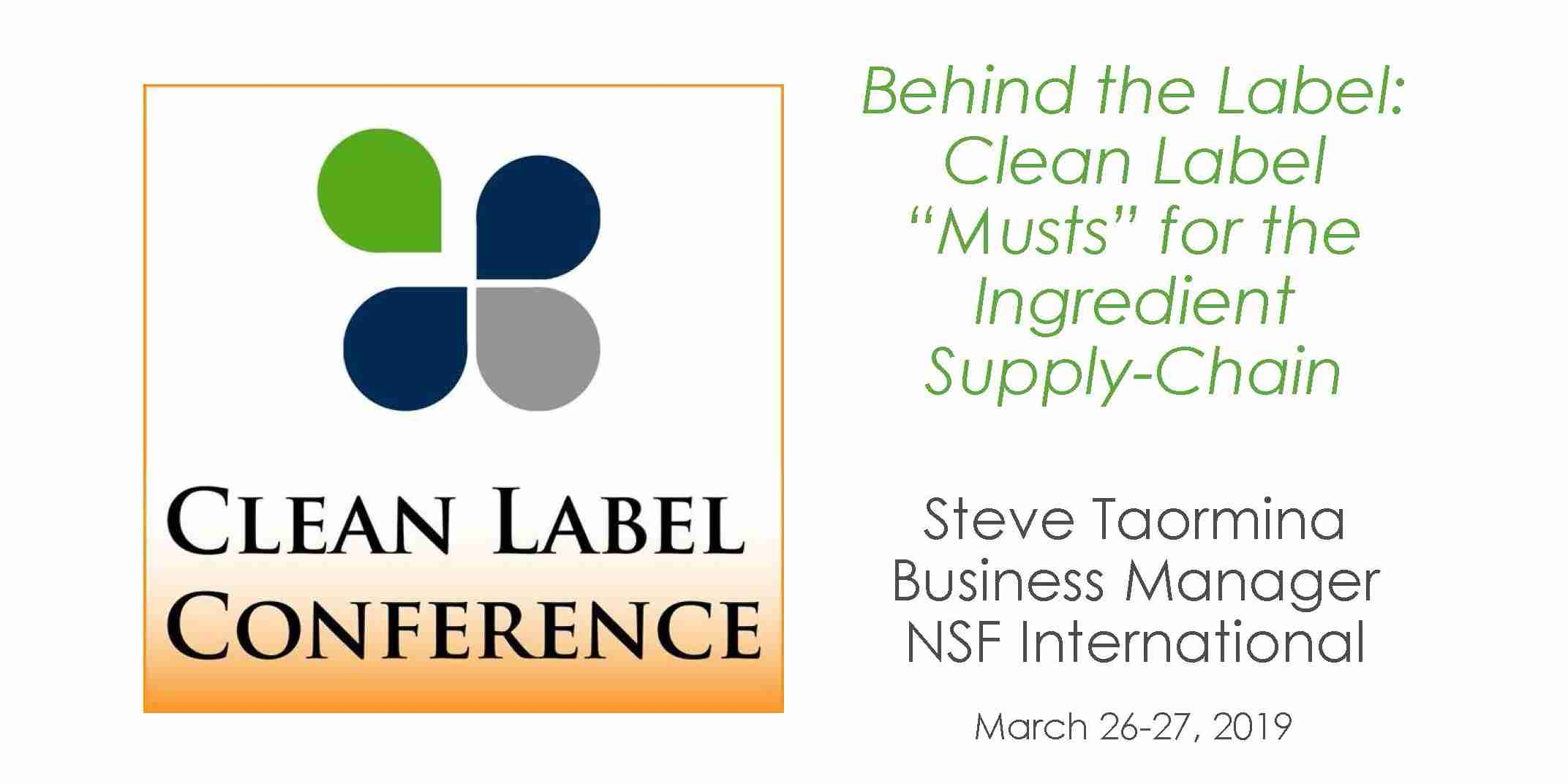 Steve Taormina-Clean Label Ingredient Supply Chain 2019 CLC