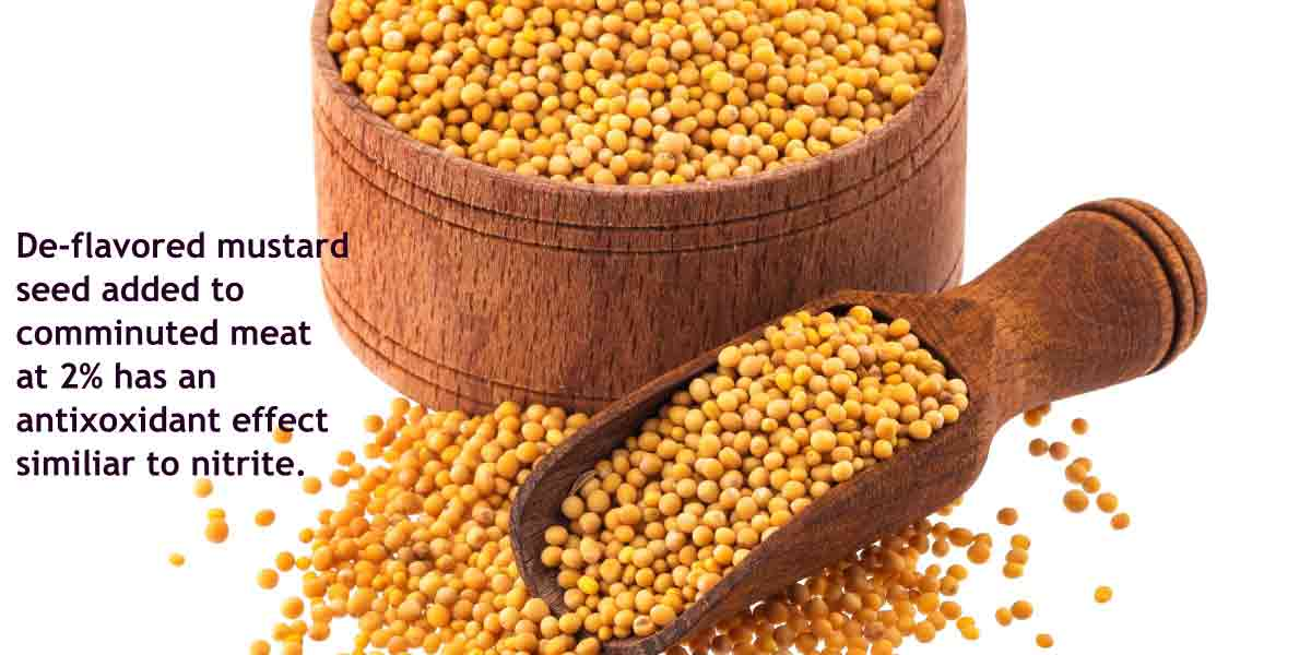 Mustard seed, when deflavored and added to comminuted meat at 2%, has an antioxidant effect similar to nitrite.