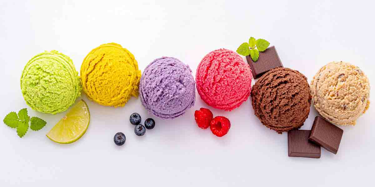 The flavor experience is integrated with aroma, taste, color and texture as in these six scoops of ice cream in virbrant colors of the fruit or confection they represent..