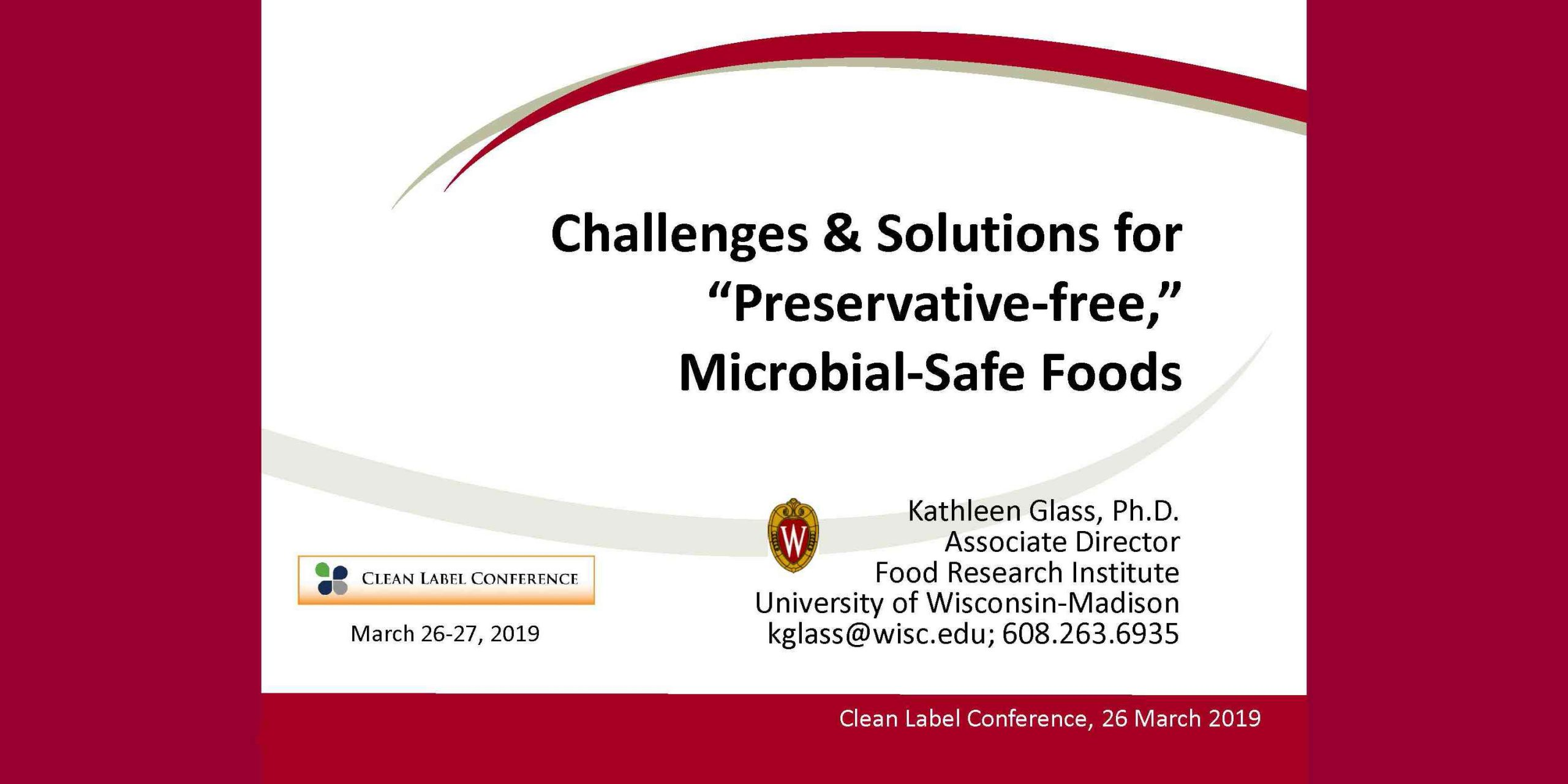 KATHLEEN GLASS PRESERVATIVE FREE MICROBIAL SAFE FOODS 2019 CLC