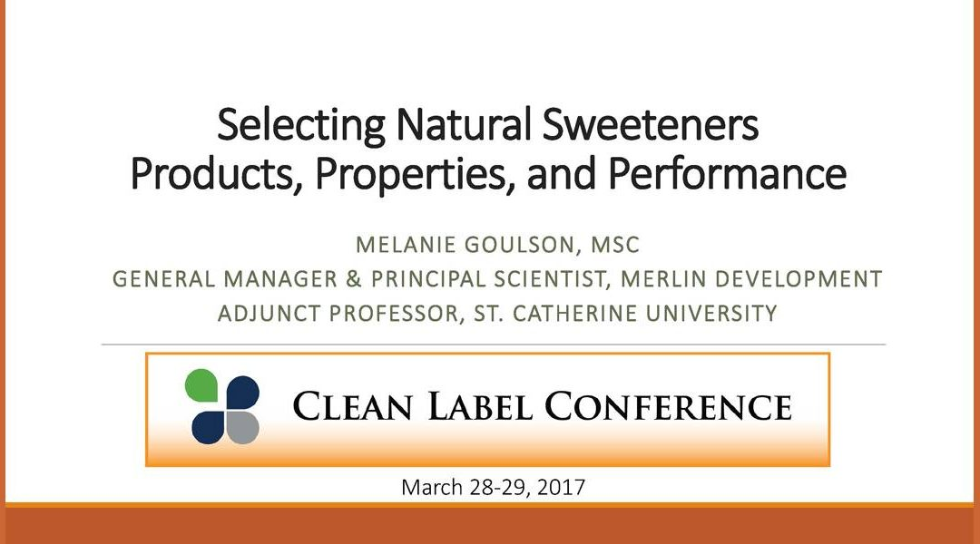 Sweetener Products, Properties and Performance Presentation