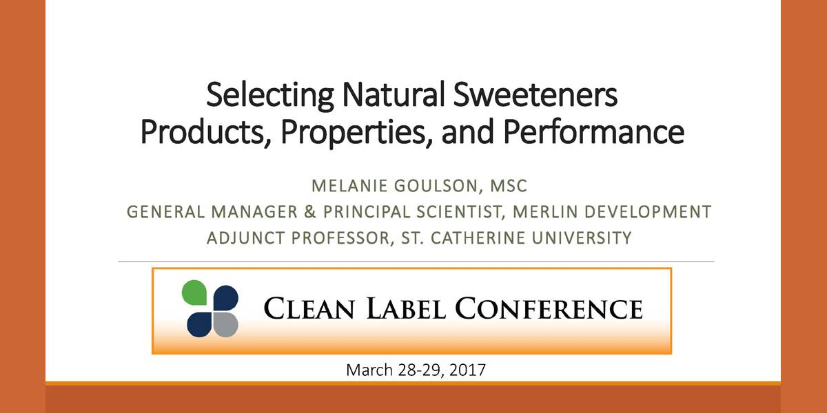 MELANIE GOULSON SWEETENER PRODUCTS PROPERTIES PERFORMANCE 2017 CLC
