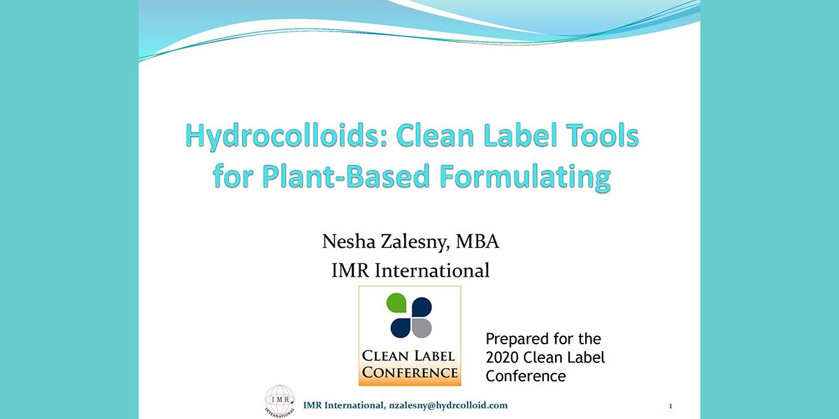 NESHA ZALESNY HYDROCOLLOIDS FOR CLEAN LABEL PLANT BASED PRODUCTS 2020 CLC