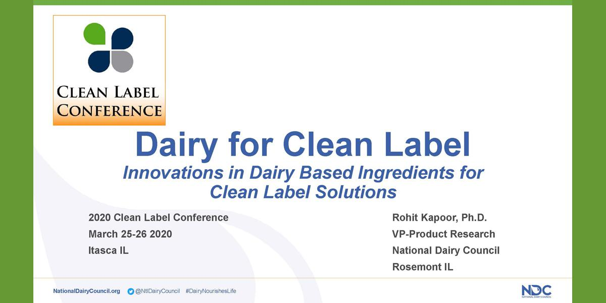 ROHIT KAPOOR DAIRY FOR CLEAN LABEL 2020 CLC