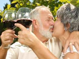 Older couple with healthy wine