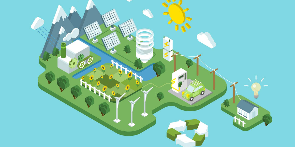 renewable energy power consumptionSustainable development recycling web infographic concept vector. Wind propeller turbine sun battery station eco natural agriculture.