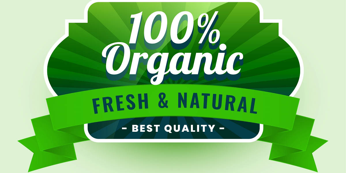 fresh and natural 100% organic food label sticker