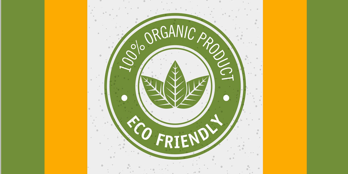 100 percent organic product eco friendly label with leaves over white background