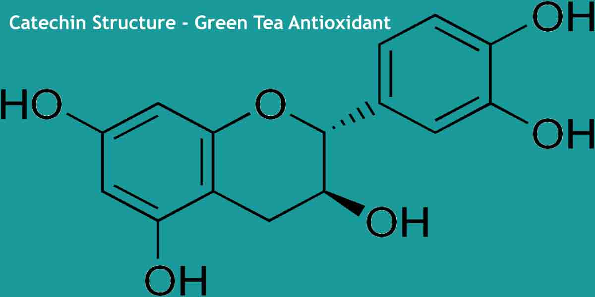 image of the chemical structure of catechin, an antioxidant component found in green tea.