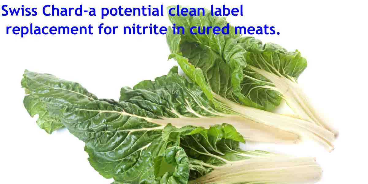 An image of swiss chard - a potential clean label replacement for nitrite in cured meats.